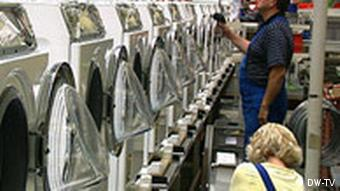 An assembly line of Miele washing machines