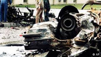 Scene of the bomb attack at the US Rhine-Main Air Base