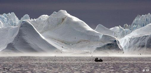Landscape of ice mountains and water