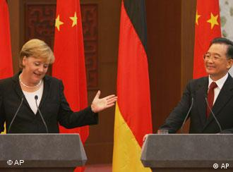 Chinese Premier Wen Jiabao, right, and Germany's Chancellor Angela Merkel in Beijing