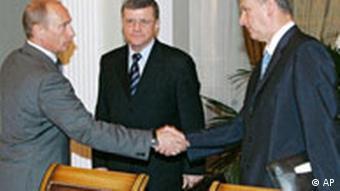 Präsident Putin mit Generalstaatsanwalt Juri Tschaika und FSB-Chef Nikolai Patruschew (v. l.), Quelle: AP