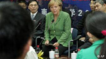 Merkel with students of the German-Chinese Law Institute in Nanjing in August