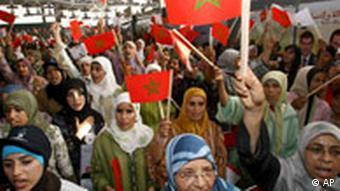 Frauenrechtlerinnen in Marokko (Quelle: (AP Photo/Jalil Bounhar)
