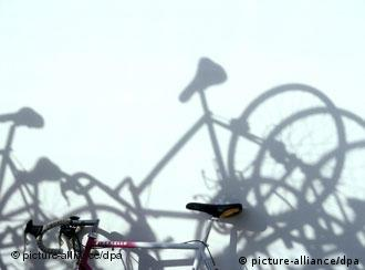 Shadows of bicycle seats