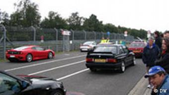 Cars at the starting line of the Nordschleife