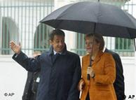 Ангела Меркель и Николя Саркози во время 2-й (блезхаймской) встречи в Мезеберге (Германия) 10 сентября