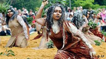 Aboriginal women perform a traditional dance