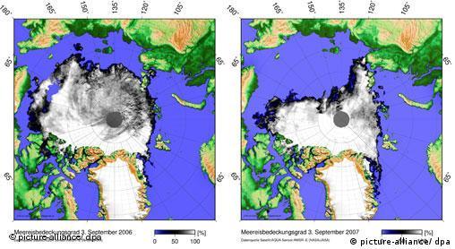 Arktis Eisbedeckung am Norpol geht zurück Eisschmelze