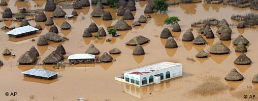 An aerial view of a flooded village in Gaarsen, Tana River district.