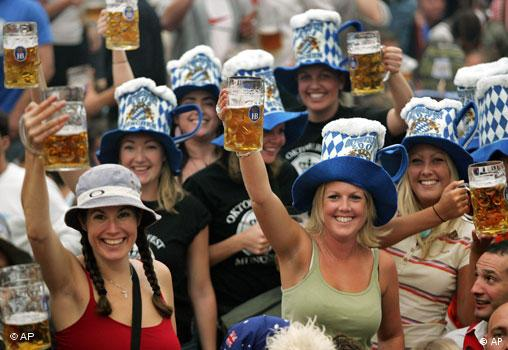 Young people drinking beer in Germany.