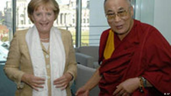 German Chancellor Angela Merkel and the Dalai Lama in Berlin in 2007