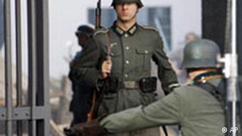 Actor in a Wehrmacht uniform, in front of Bendler Block