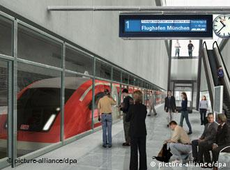 Computer graphic showing the planned transrapid train in Munich