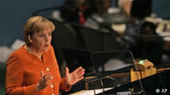 Angela Merkel, Chancellor of the Federal Republic of Germany addresses the 62nd session of the United Nations General Assembly Tuesday, Sept. 25, 2007 at United Nations headquarters.