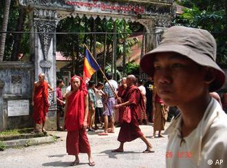 Thousands of monks took to the streets of Yangon in Sept. 2007 to protest against the junta