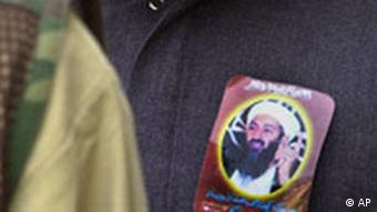 A Osama bin Laden sticker on a jacket