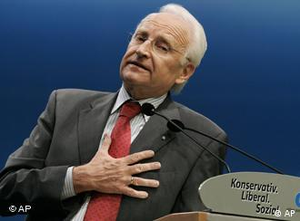 Edmund Stoiber, outgoing Bavarian State Governor, speaks during the party congress of the German Christian Social Union party in the congress center at a fair in Munich, Friday, Sept. 28, 2007.