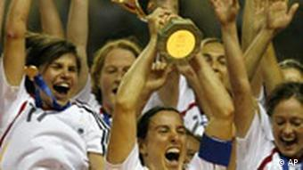 Germany's Birgit Prinz, center, celebrates with the German team after winning the final of the 2007 FIFA Women's World Cup