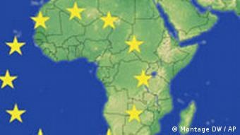 The stars of the EU flag placed over a map of Africa
