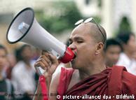 Monk protesting in Burma