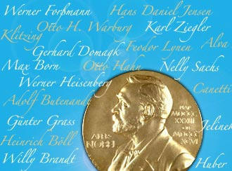 The Nobel Prize medal superimposed on signatures of past winners