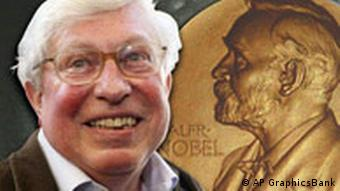Ertl's portrait next to a picture of a Nobel medal