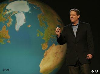 Al Gore in from of a large globe