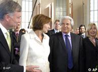 El presidente alemán (izq.), momentos antes del incidente.