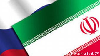 Iranian flag superimposed on Russian one