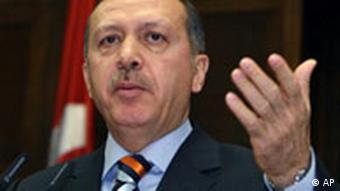 Turkish Prime Minister Recep Tayyip Erdogan, addressing lawmakers at Parliament in Ankara, Tuesday, Oct. 16, 2007.