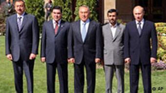 آخرين ديدار الهام على اف، رئيس جمهور آذربايجان (سمت راست) از تهران در اكتبر سال ۲۰۰۷ و در چارچوب اجلاس رهبران کشورهای حاشیه دریای خزر انجام گرفت