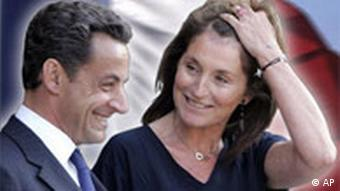 Nicolas Sarkozy, as France President with his wife Cecilia headshots, on texture, partial graphic