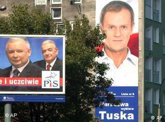 Рекламные плакаты Туска и Качиньского