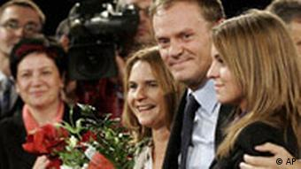 Donald Tusk surrounded by family