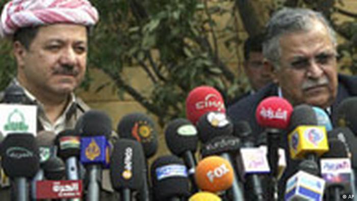 Irak Türkei Kurden Präsident Talabani und Massud Barsani in Irbil (AP)
