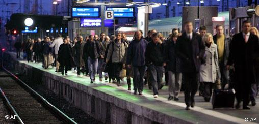 Commuters in Frankfurt waiting during a train drivers' strike last fall