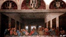 Leonardo Da Vinci masterpiece The Last Supper is seen Thursday, May 27, 1999, in downtown Milan's Santa Maria delle Grazie church. Traces of the original bright colors of The Last Supper emerged from centuries of dirt, decay and retouchings Thursday, when Italy put the Leonardo Da Vinci masterpiece back on display after a much-heralded, much-debated 22-year restoration. (AP Photo/Antonio Calanni)