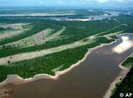 Vista aérea de uno de los ríos que fluyen en el Amazonas.