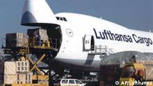 ** ARCHIV ** Das undatierte Handout zeigt eine Frachtmaschine von Lufthansa Cargo beim Beladen. Neben bei den bereits geplanten Einsparungen peilt die Lufthansa in den kommenden zwei Jahren offenbar zusaetzliche Kostensenkungen von 300 Millionen Euro bei ihrer Frachttochter Cargo an. Das Unternehmen wolle in Gespraechen mit den Gewerkschaften deutliche Kostensenkungen beim Personal durchsetzen, berichtet die Financial Times Deutschland am Montag, 15. Dez. 2003. (AP Photo/Lufthansa) NUR ZUR REDAKTIONELLEN VERWENDUNG BEI URHEBERNENNUNG LUFTHANSA