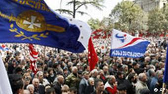 Georgien Demonstration in Tiflis Flagge Opposition