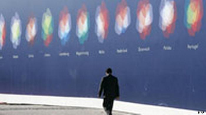 EUROMED Außenminister Treffen Lissabon Portugal Plakat (AP)