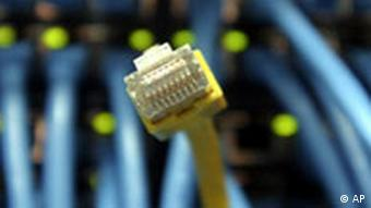 Picture of network cables and plug