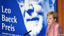 Deutschland Juden Zentralrat Leo Baeck Preis 2007 an Angela Merkel