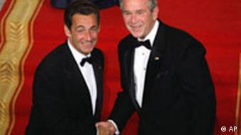 U.S. President George W. Bush with French president Nicolas Sarkozy