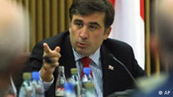 Georgiens Präsident Mikhail Saakashvili in seinem Büro in Tiflis Proteste Demonstration Georgien