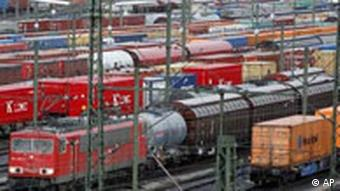 Cargo trains lined up in a depot