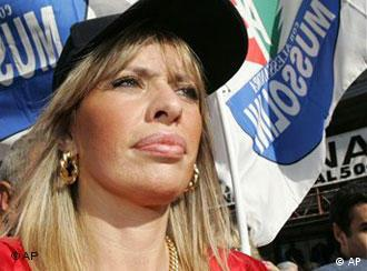 Far-right Azione Sociale party leader Alessandra Mussolini, granddaughter of Italy's wartime Fascist dictator Benito Mussolini