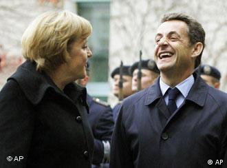 A confident-looking French President Nicolas Sarkozy