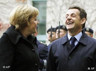 SarkozyMerkel talk in front of the chancellery in Berlin