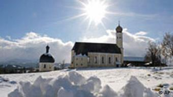 A Bavarian church in the sun and snow